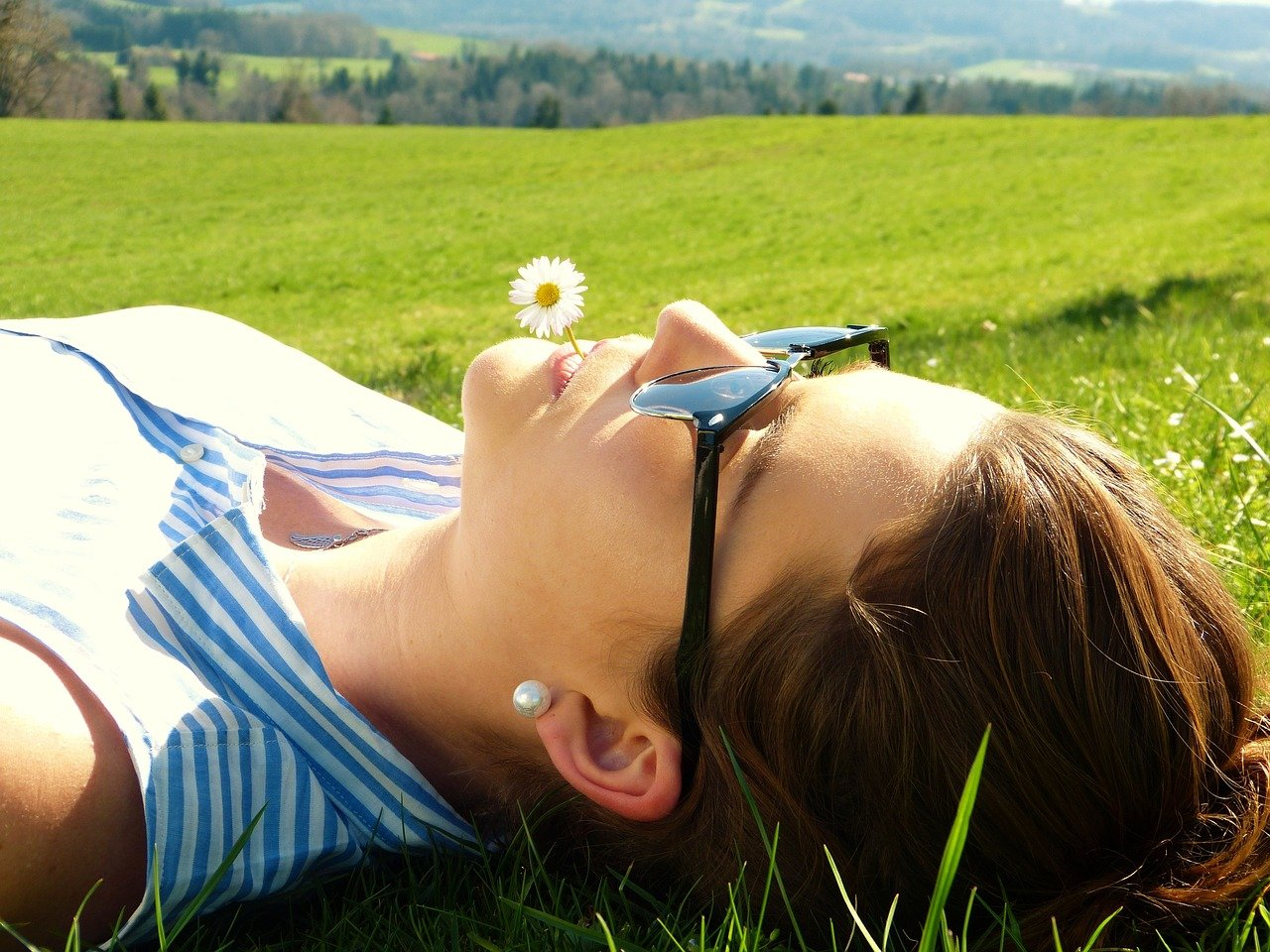 Young Woman Meadow Concerns Rest  - silviarita / Pixabay